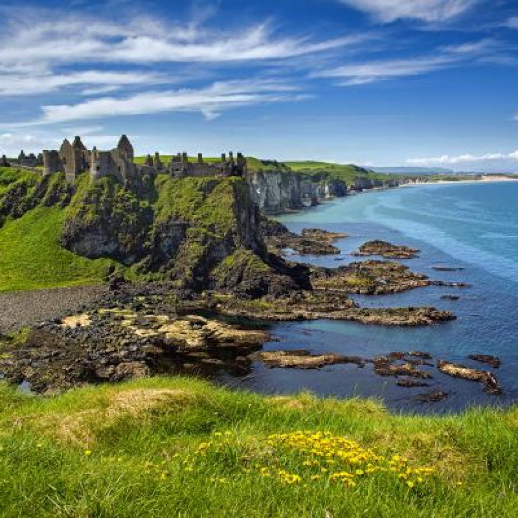 The ruins of the medieval Dunluce Castle in Co Antrim