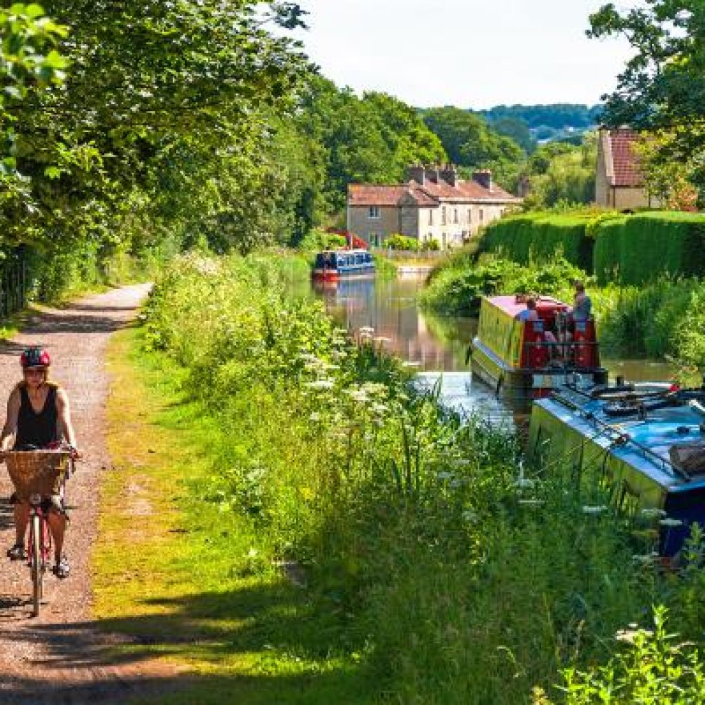 The Kennet and Avon Canal, near Bath — much of the route has been improved for cyclists